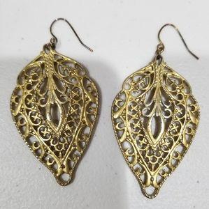Gold Filegree Earrings